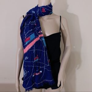 Anthropologie Streets of Paris Map Scarf